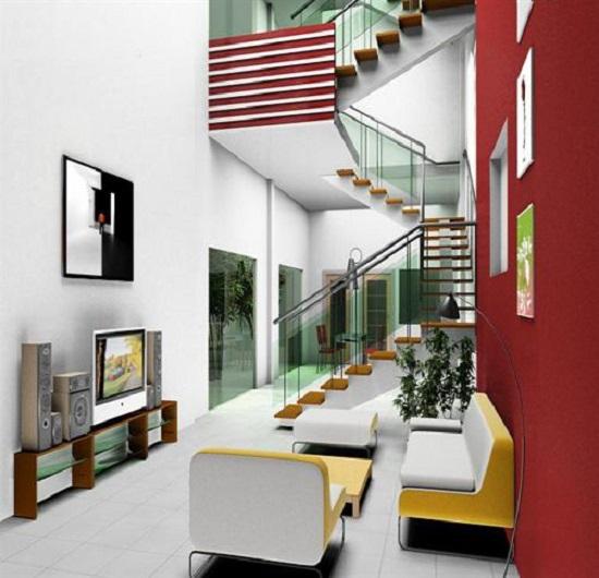 Điểm thêm nét hiện đại bằng cầu thang kính cho nhà hẹp