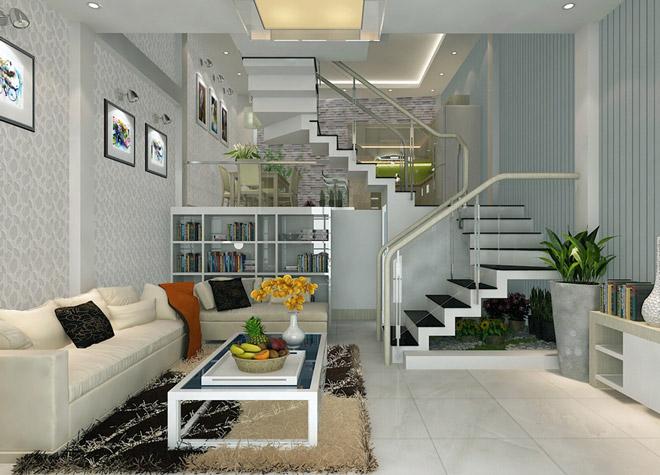 mẫu cầu thang kính và cây xanh phòng khách