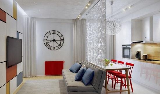Ngăn phòng khách với bếp bằng kính cường lực